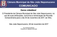 COMUNICADO - Câmara Municipal de São João Nepomuceno
