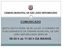 Comunicado da Câmara Municipal de São João Nepomuceno