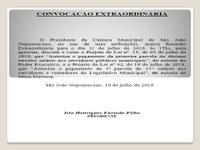 Convocação Extraordinária da CMSJN